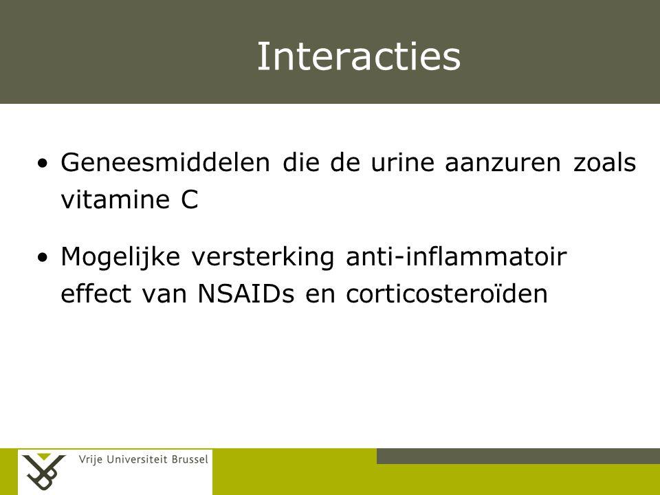 Interacties Geneesmiddelen die de urine aanzuren zoals vitamine C