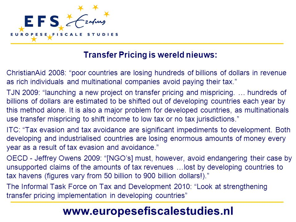 Transfer Pricing is wereld nieuws: