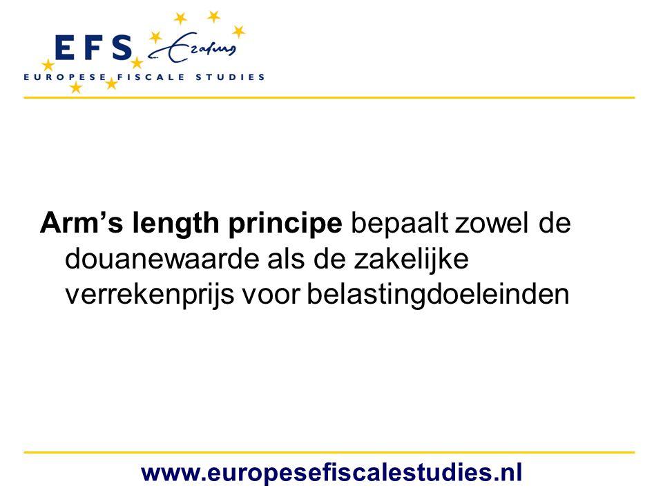 Arm's length principe bepaalt zowel de douanewaarde als de zakelijke verrekenprijs voor belastingdoeleinden