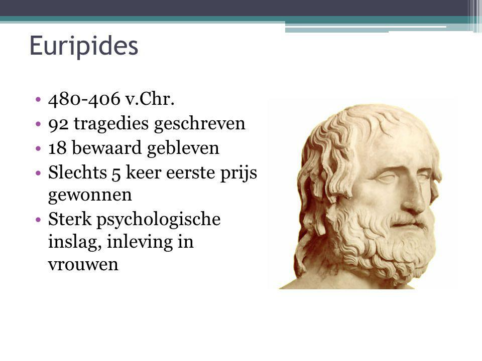 Euripides 480-406 v.Chr. 92 tragedies geschreven 18 bewaard gebleven