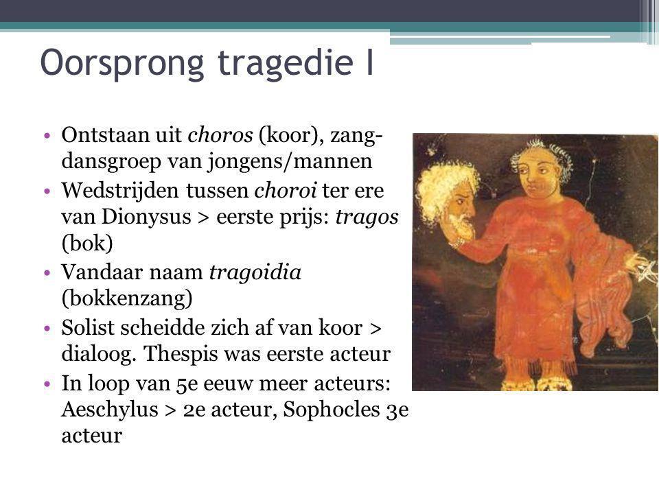 Oorsprong tragedie I Ontstaan uit choros (koor), zang- dansgroep van jongens/mannen.