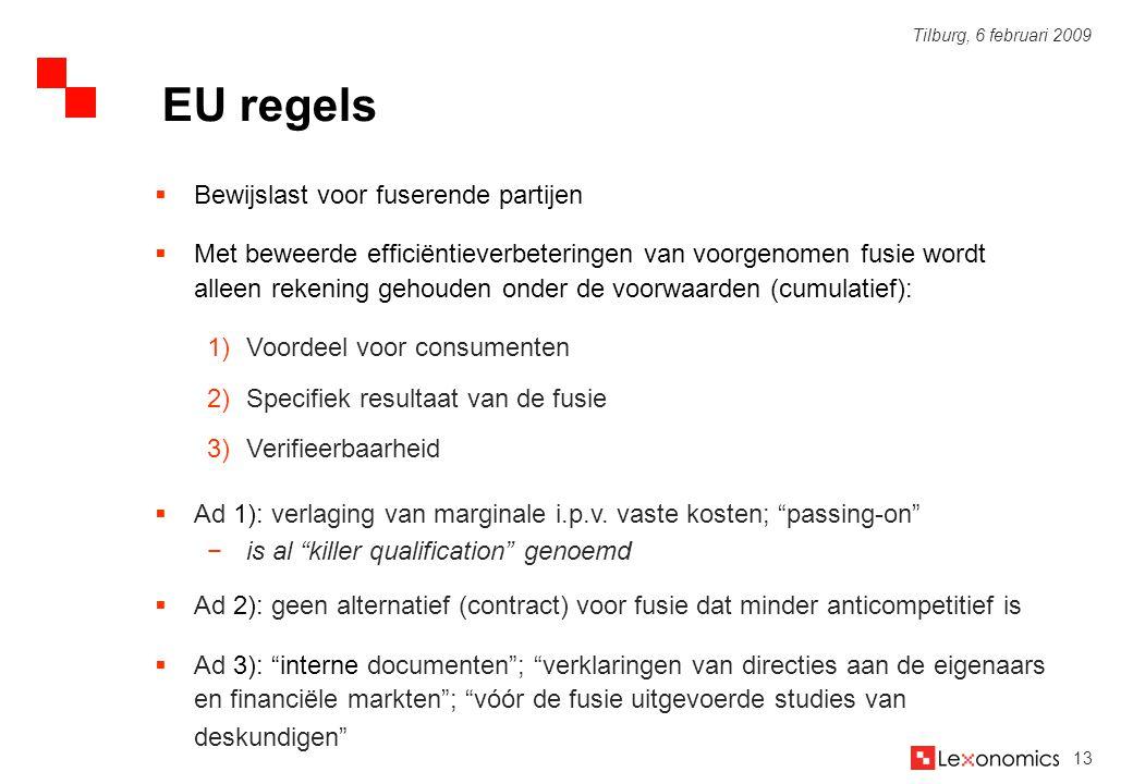 EU regels Bewijslast voor fuserende partijen