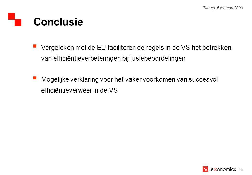 Conclusie Vergeleken met de EU faciliteren de regels in de VS het betrekken van efficiëntieverbeteringen bij fusiebeoordelingen.