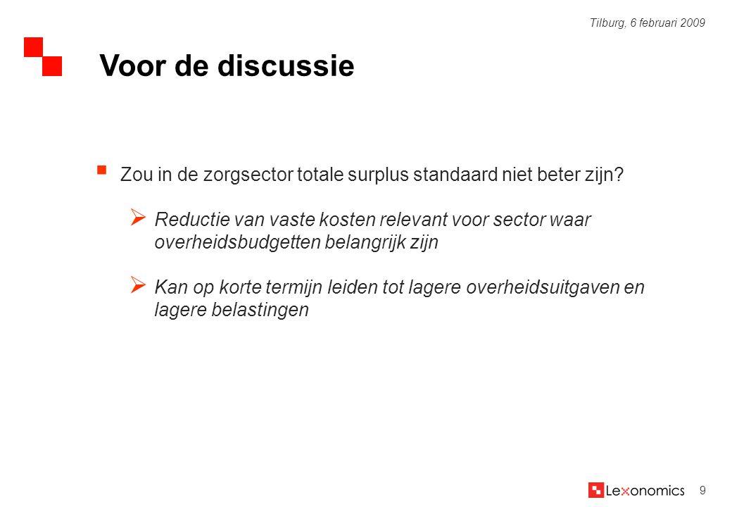 Voor de discussie Zou in de zorgsector totale surplus standaard niet beter zijn