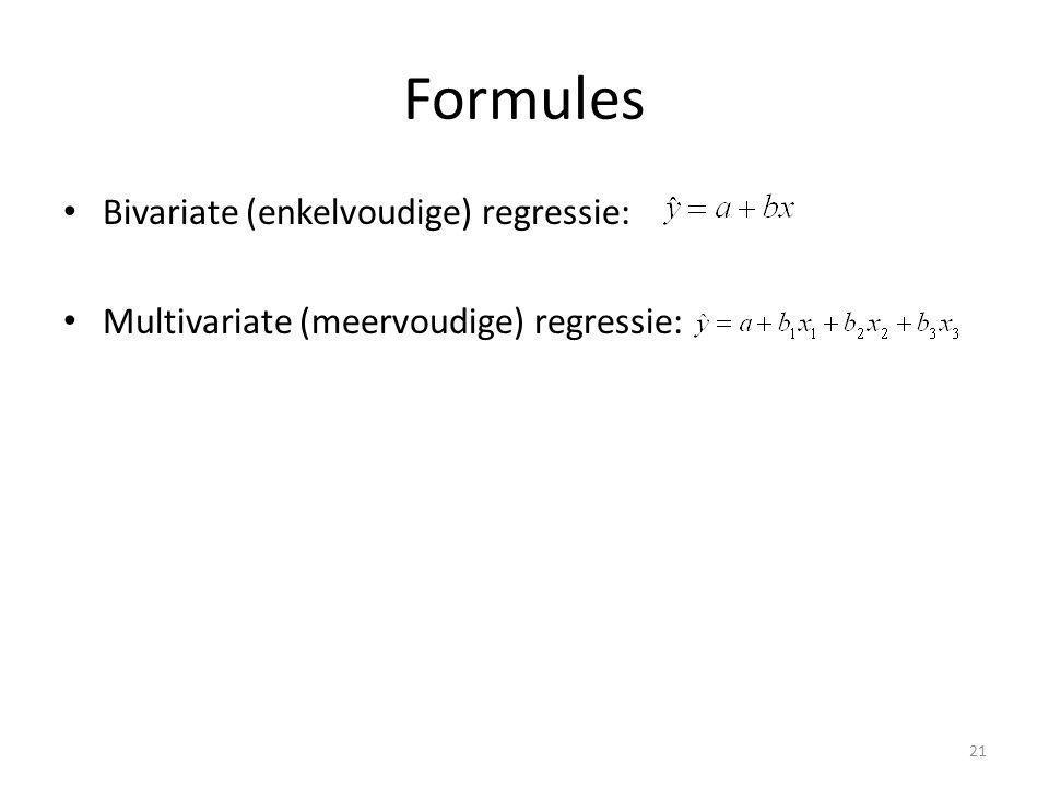 Formules Bivariate (enkelvoudige) regressie: