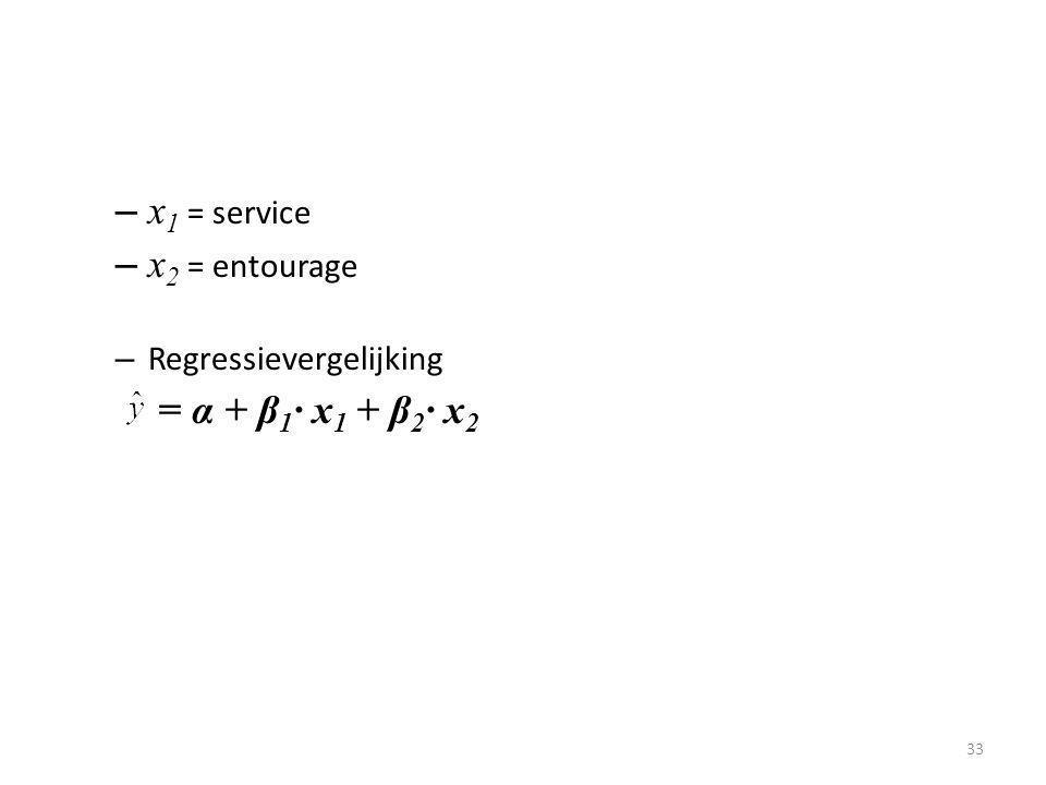 x1 = service x2 = entourage Regressievergelijking