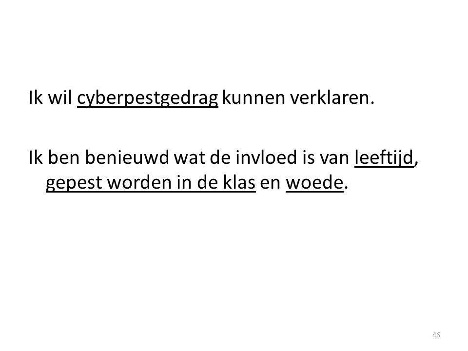 Ik wil cyberpestgedrag kunnen verklaren