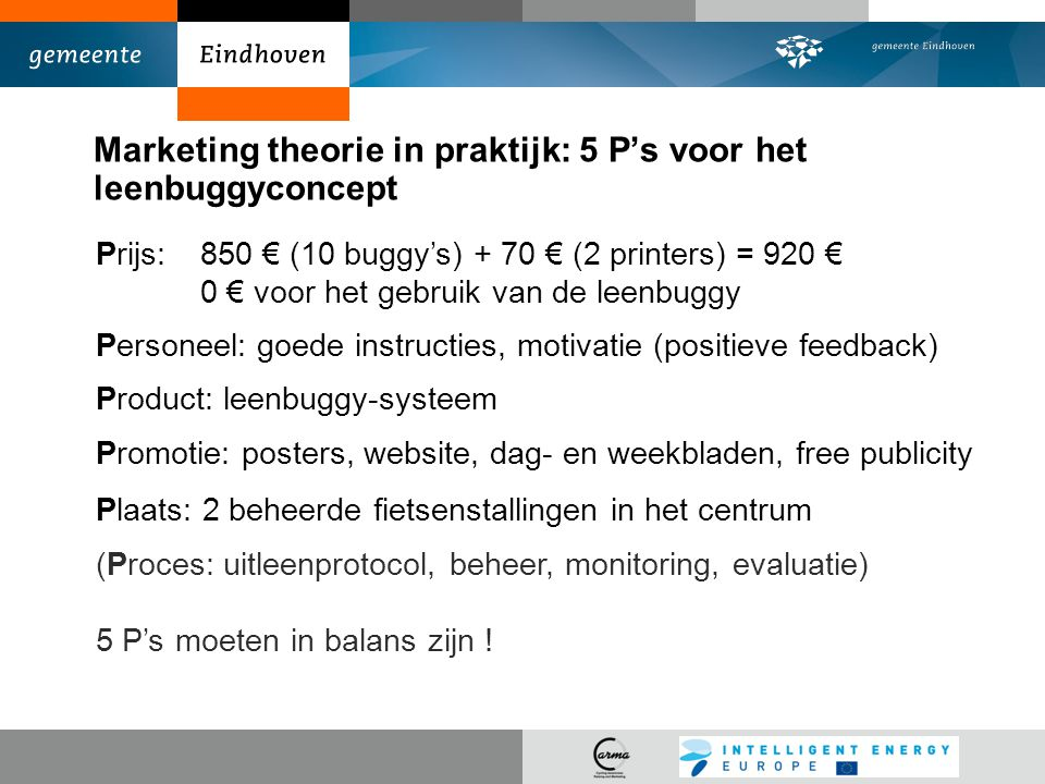 Marketing theorie in praktijk: 5 P's voor het leenbuggyconcept