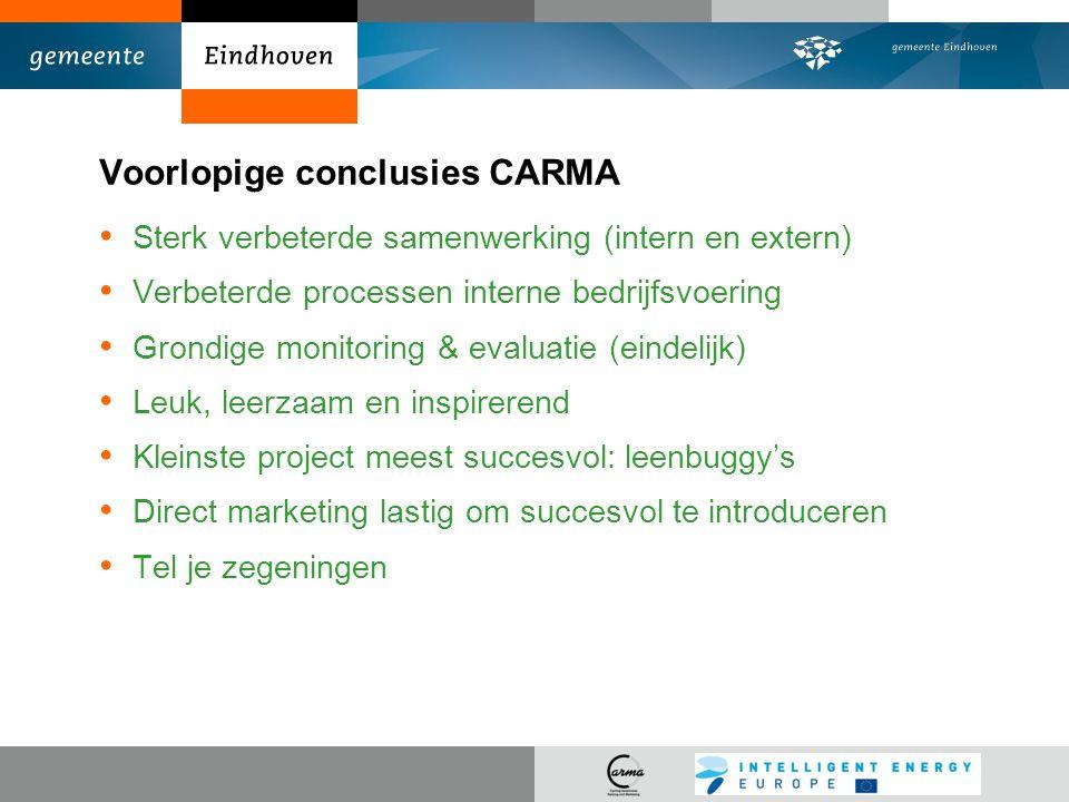 Voorlopige conclusies CARMA