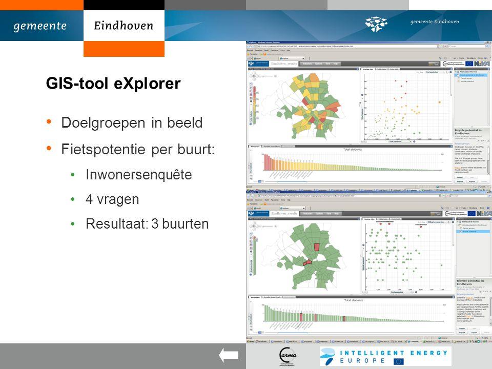 GIS-tool eXplorer Doelgroepen in beeld Fietspotentie per buurt: