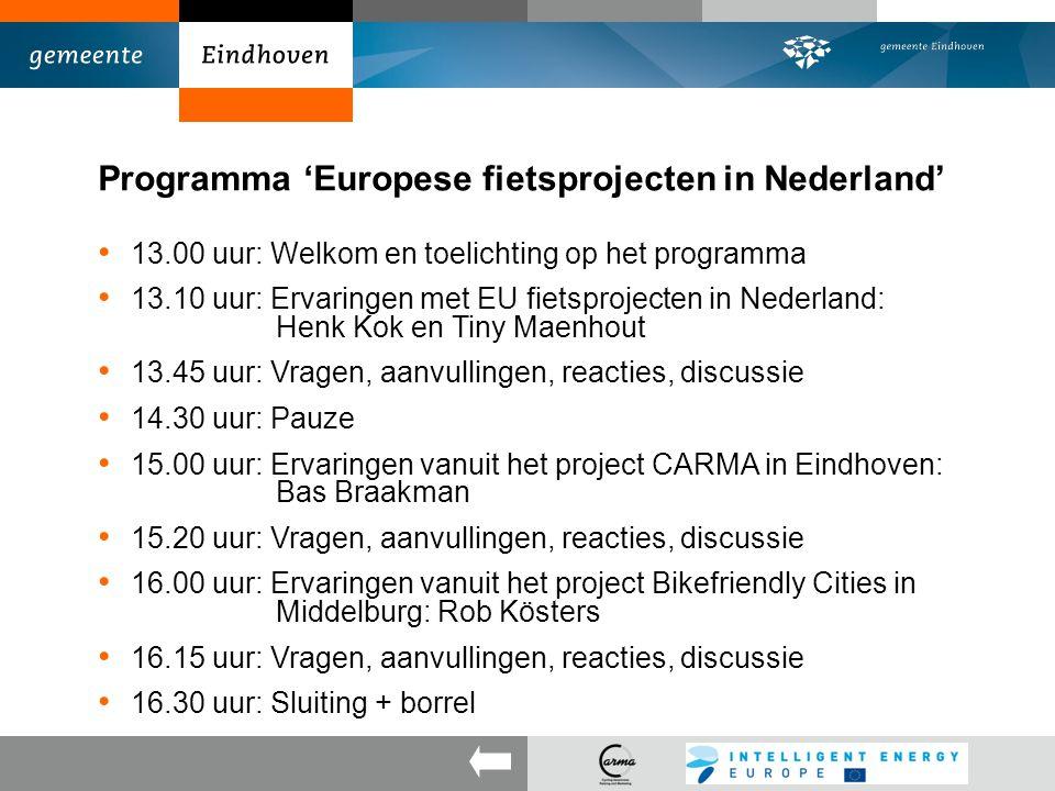 Programma 'Europese fietsprojecten in Nederland'