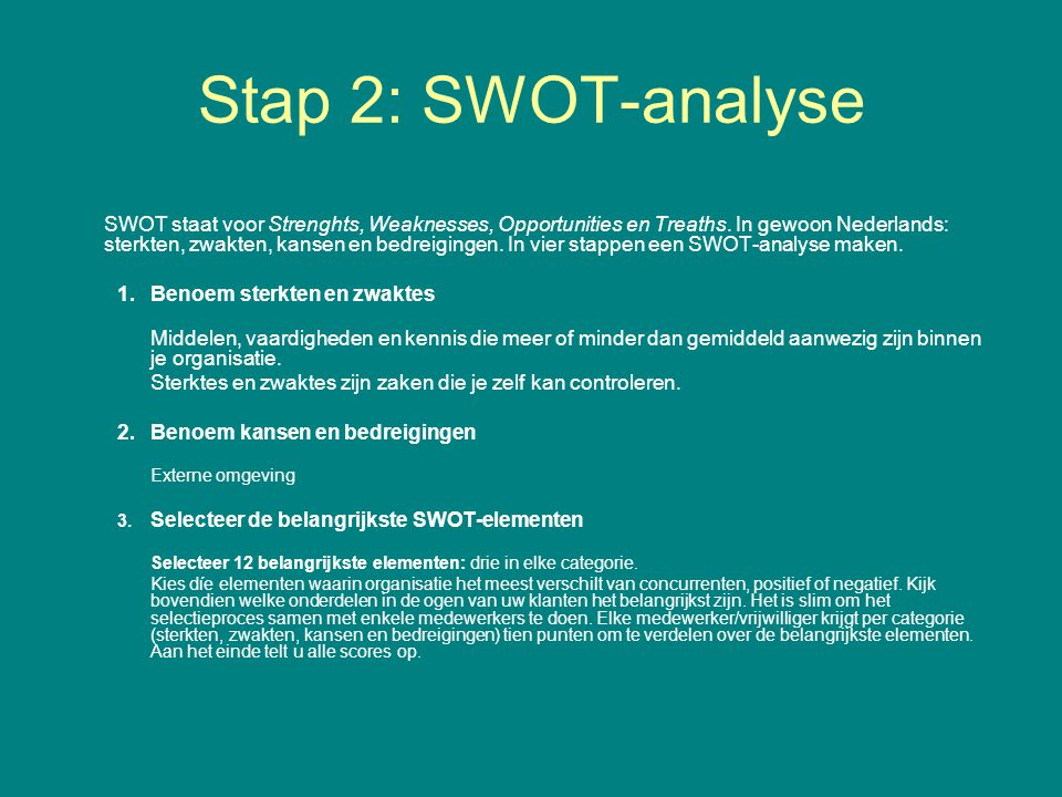 Stap 2: SWOT-analyse