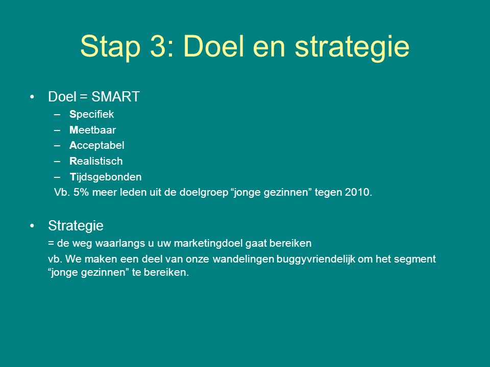 Stap 3: Doel en strategie
