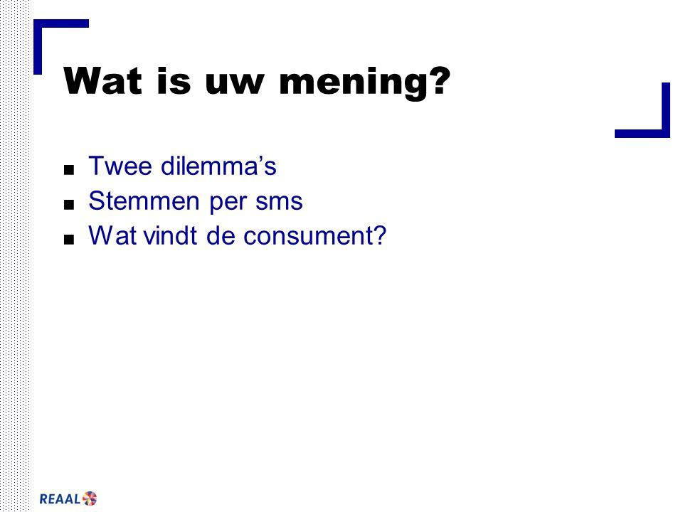Wat is uw mening Twee dilemma's Stemmen per sms