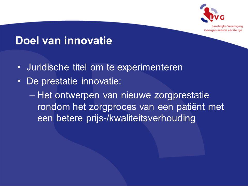 Doel van innovatie Juridische titel om te experimenteren