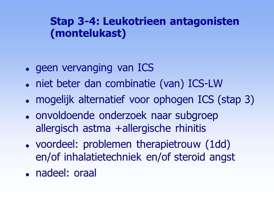 Stap 3-4: Leukotrieen antagonisten (montelukast)