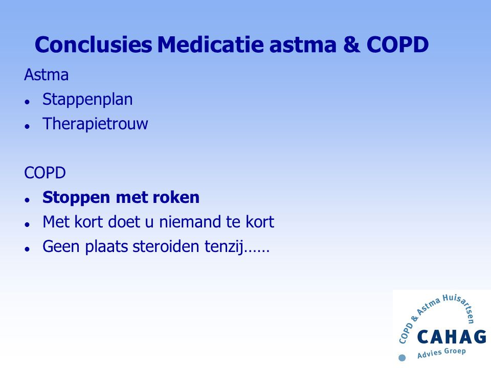 Conclusies Medicatie astma & COPD
