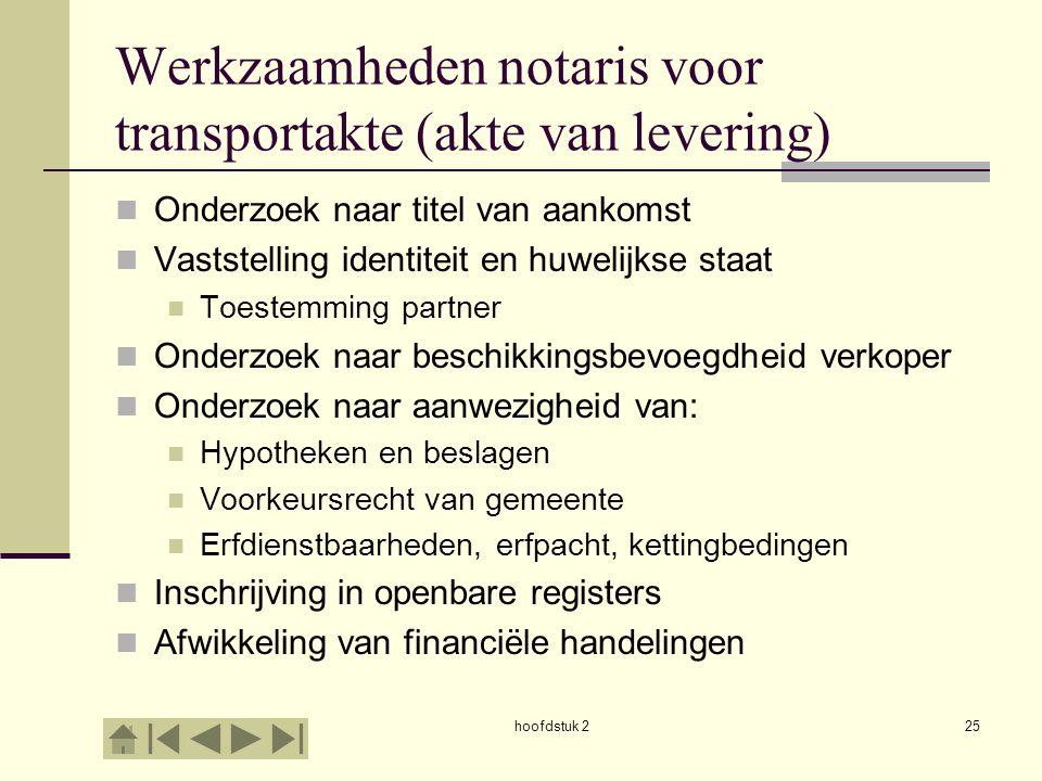 Werkzaamheden notaris voor transportakte (akte van levering)