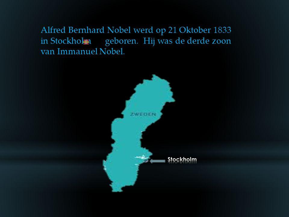 Alfred Bernhard Nobel werd op 21 Oktober 1833 in Stockholm geboren