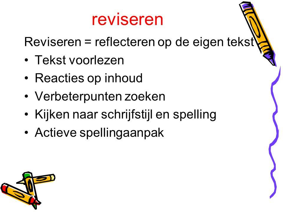 reviseren Reviseren = reflecteren op de eigen tekst Tekst voorlezen