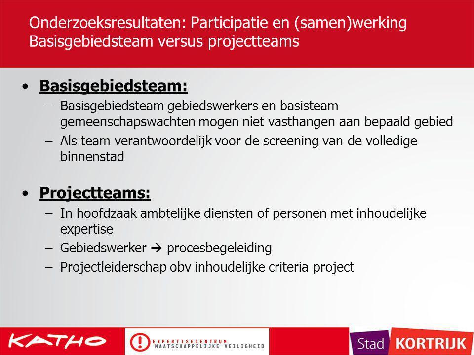 Onderzoeksresultaten: Participatie en (samen)werking Basisgebiedsteam versus projectteams