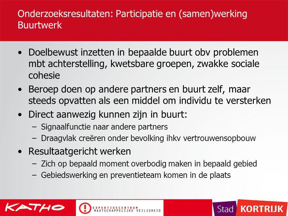 Onderzoeksresultaten: Participatie en (samen)werking Buurtwerk