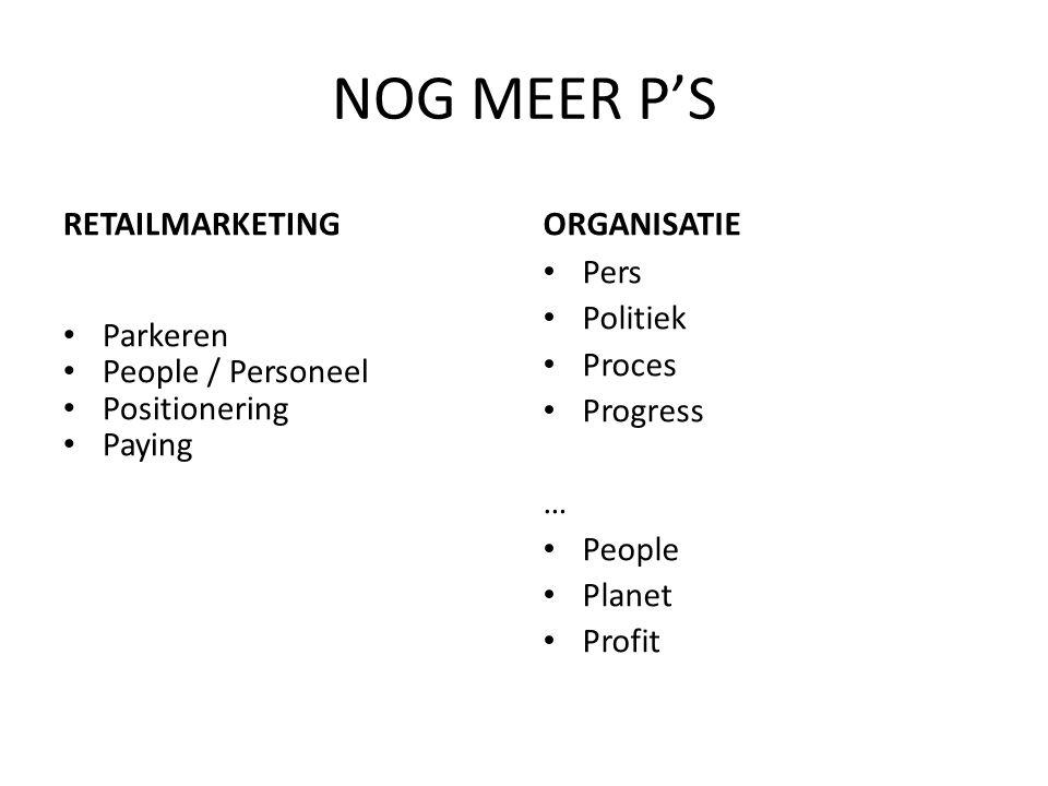 NOG MEER P'S RETAILMARKETING ORGANISATIE Parkeren People / Personeel