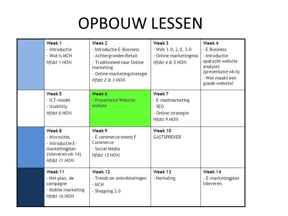 OPBOUW LESSEN Week 1 - Introductie - Wat is MCH Hfdst 1 HOM Week 2