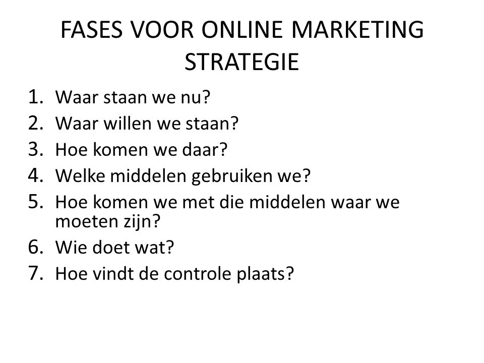 FASES VOOR ONLINE MARKETING STRATEGIE