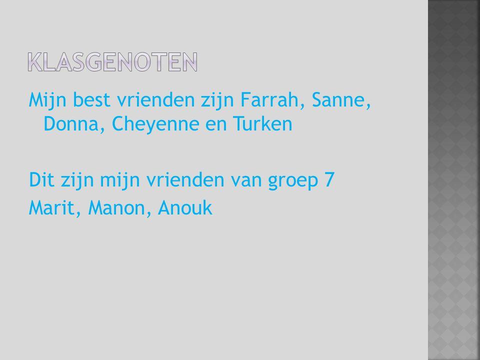 Klasgenoten Mijn best vrienden zijn Farrah, Sanne, Donna, Cheyenne en Turken Dit zijn mijn vrienden van groep 7 Marit, Manon, Anouk