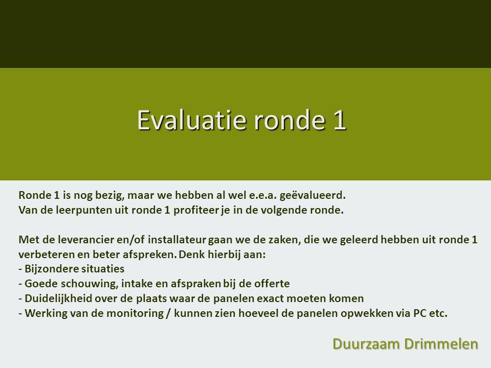 Evaluatie ronde 1 Duurzaam Drimmelen