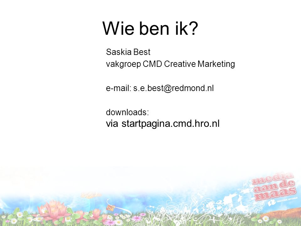 Wie ben ik Saskia Best vakgroep CMD Creative Marketing