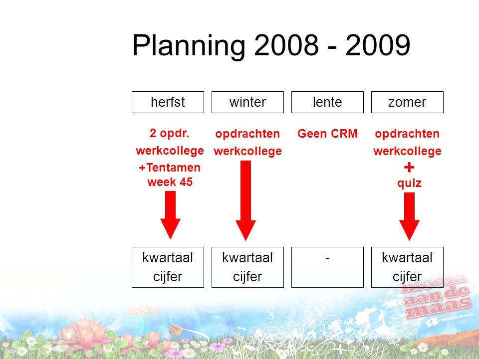 Planning 2008 - 2009 + herfst winter lente zomer kwartaal cijfer