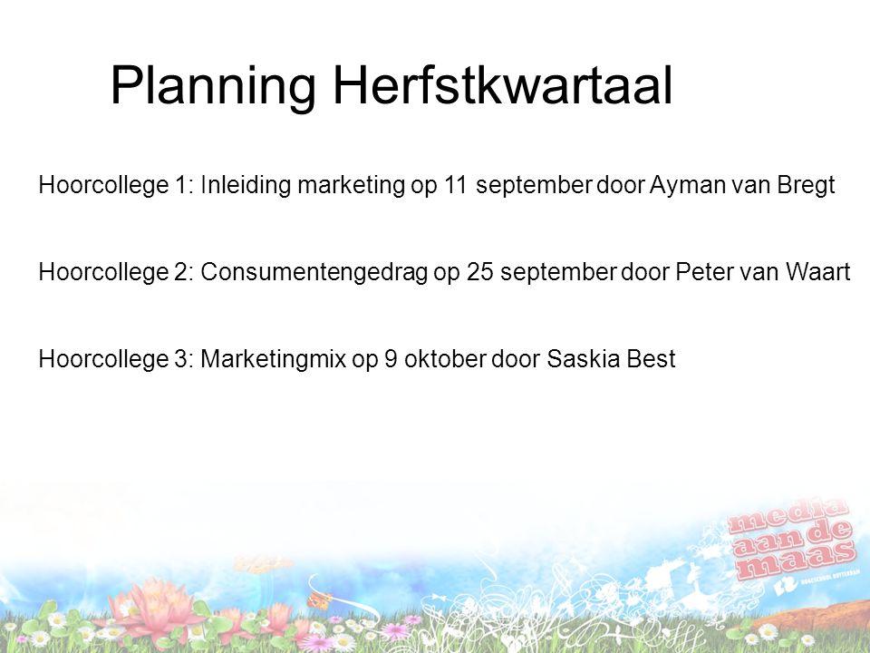 Planning Herfstkwartaal