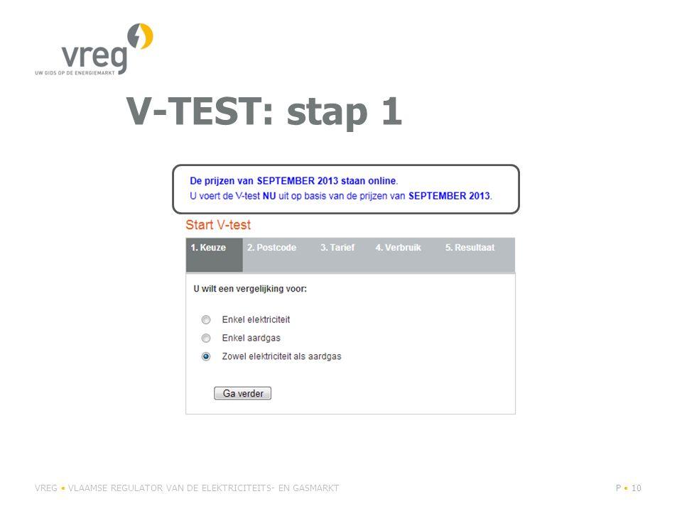 V-TEST: stap 1 VREG • VLAAMSE REGULATOR VAN DE ELEKTRICITEITS- EN GASMARKT