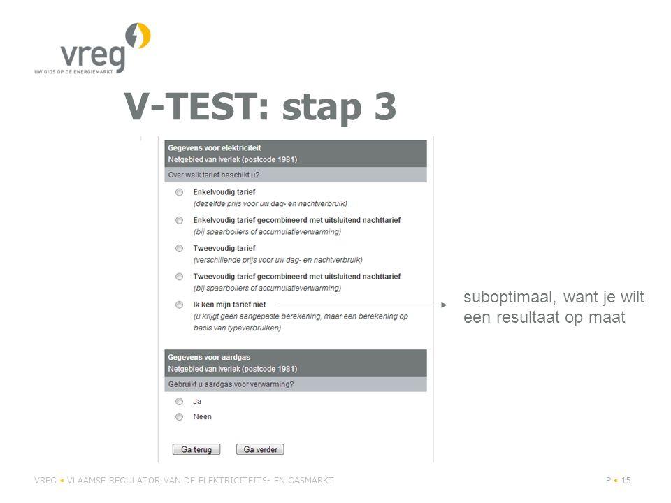 V-TEST: stap 3 suboptimaal, want je wilt een resultaat op maat