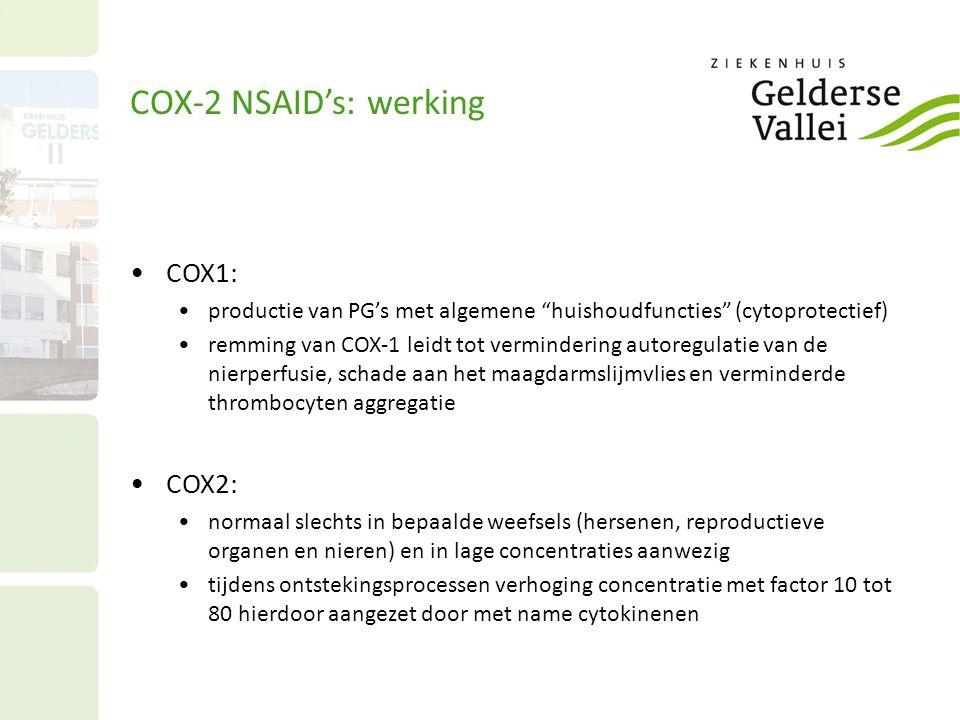 COX-2 NSAID's: werking COX1: COX2: