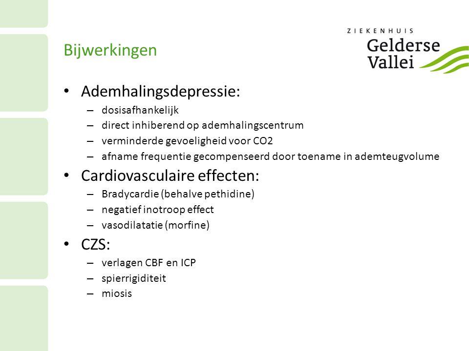 Bijwerkingen Ademhalingsdepressie: Cardiovasculaire effecten: CZS: