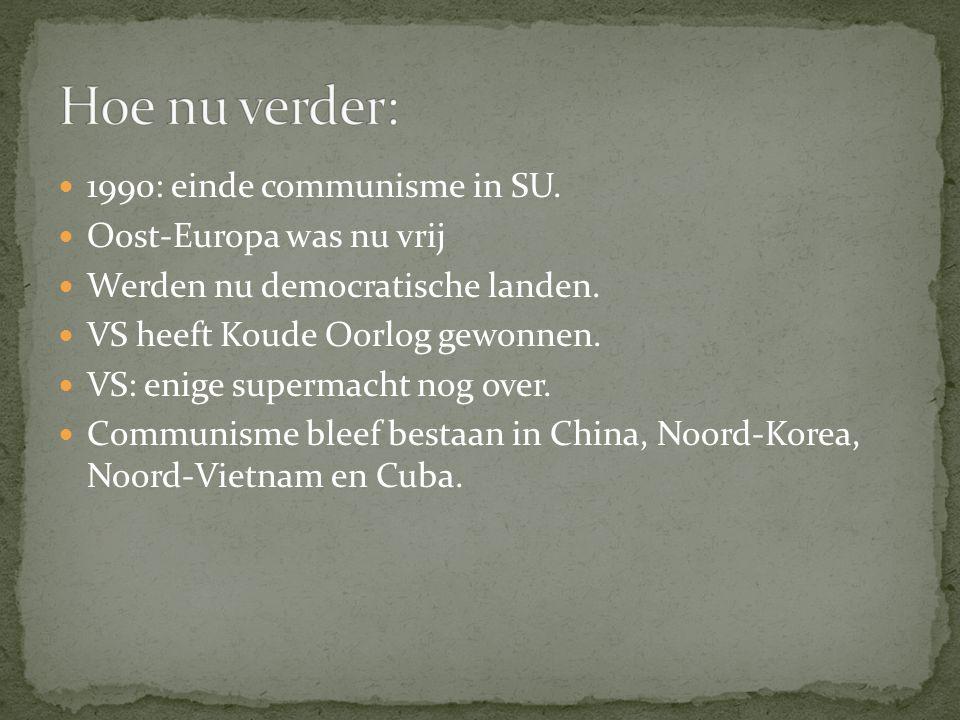 Hoe nu verder: 1990: einde communisme in SU. Oost-Europa was nu vrij