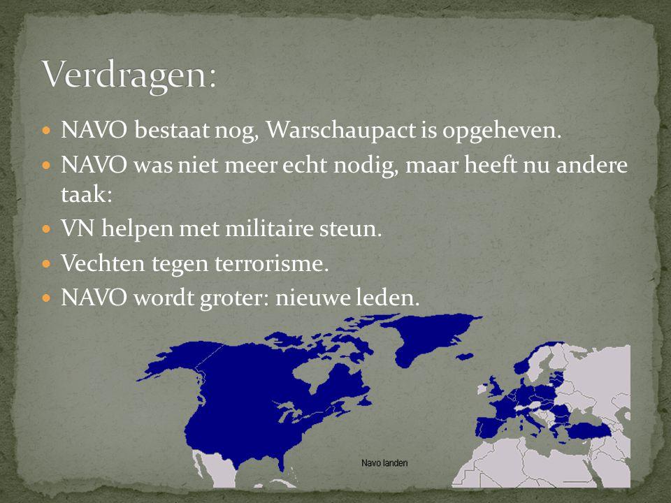 Verdragen: NAVO bestaat nog, Warschaupact is opgeheven.