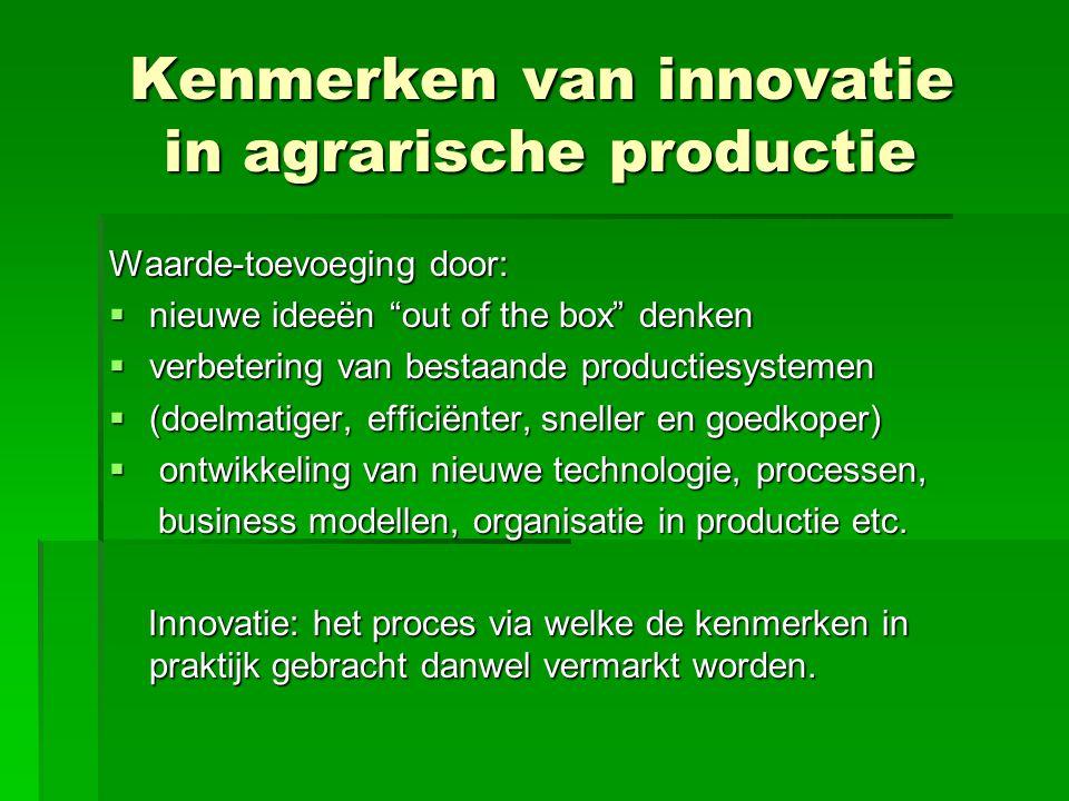 Kenmerken van innovatie in agrarische productie