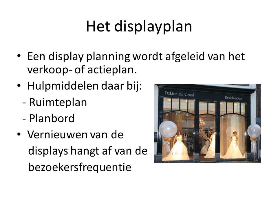 Het displayplan Een display planning wordt afgeleid van het verkoop- of actieplan. Hulpmiddelen daar bij: