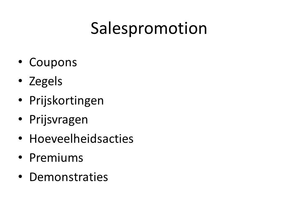 Salespromotion Coupons Zegels Prijskortingen Prijsvragen