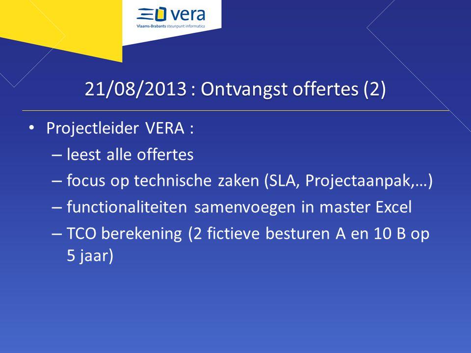 21/08/2013 : Ontvangst offertes (2)