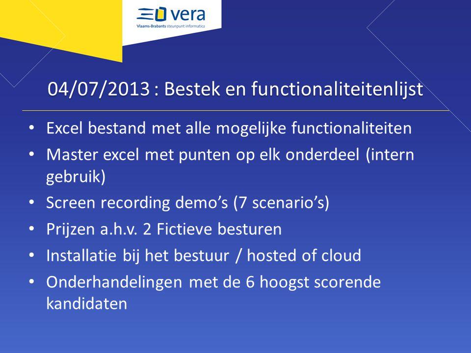 04/07/2013 : Bestek en functionaliteitenlijst