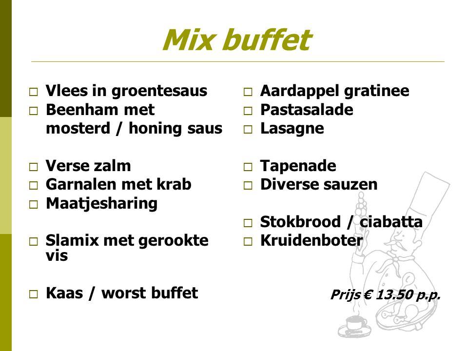 Mix buffet Vlees in groentesaus Beenham met mosterd / honing saus