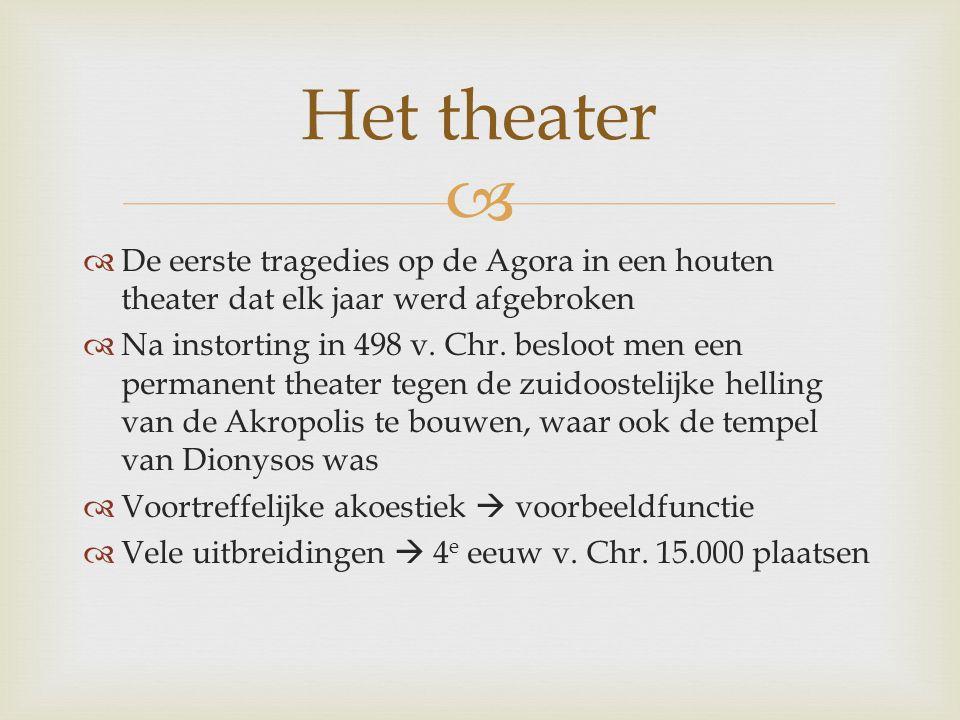 Het theater De eerste tragedies op de Agora in een houten theater dat elk jaar werd afgebroken.