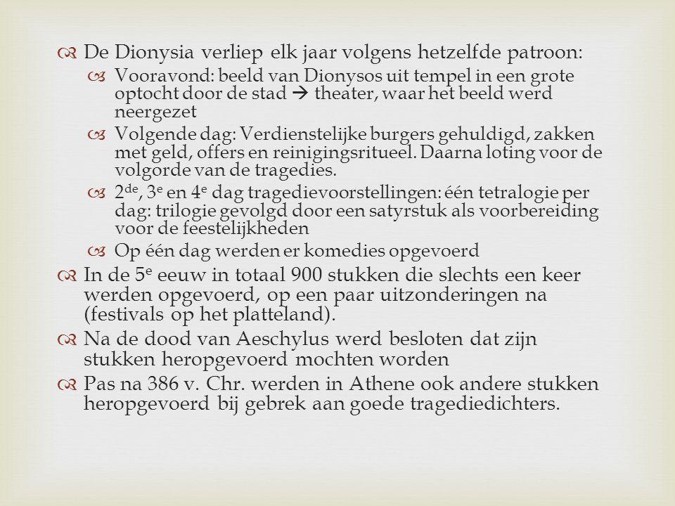 De Dionysia verliep elk jaar volgens hetzelfde patroon: