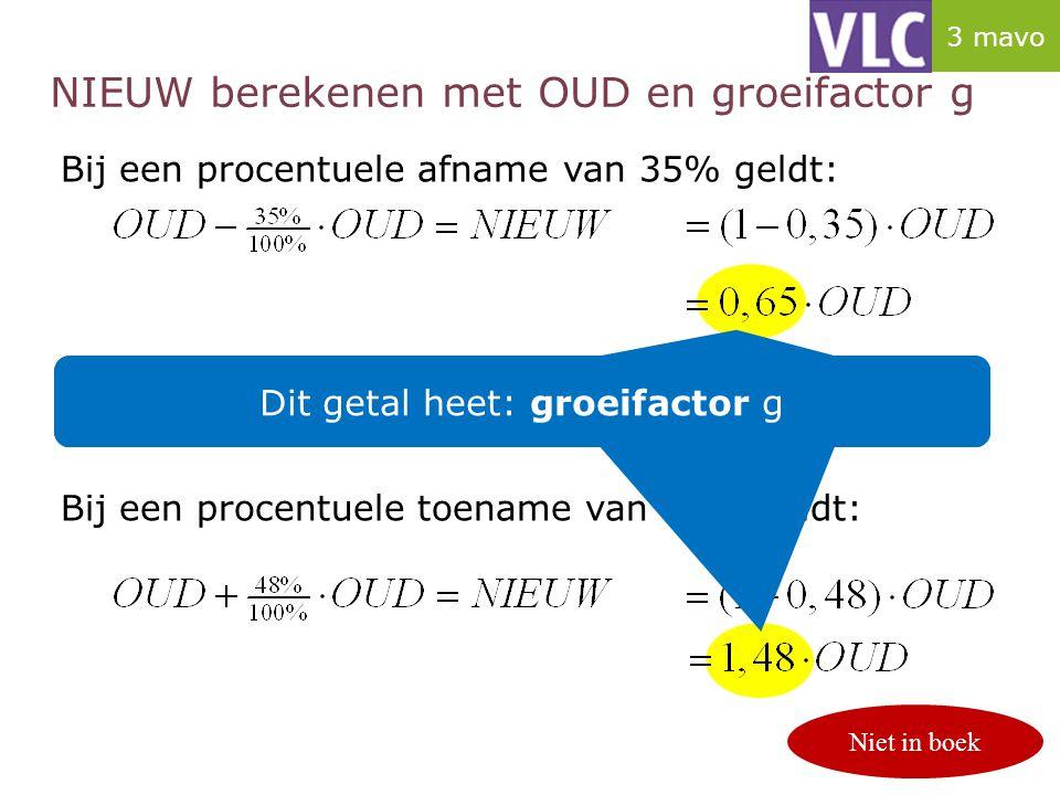 NIEUW berekenen met OUD en groeifactor g