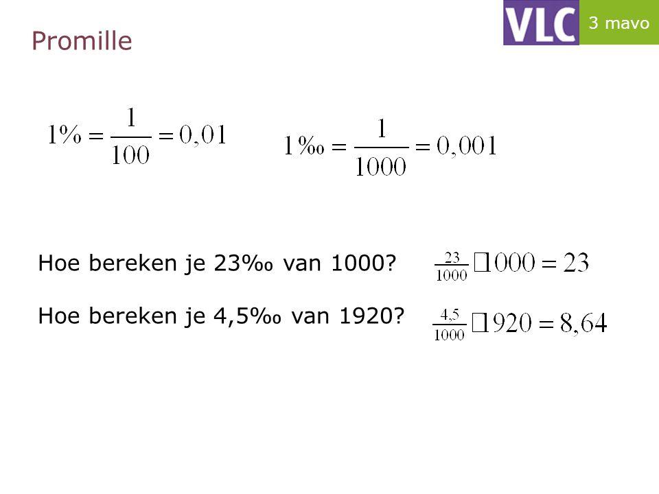 Promille Hoe bereken je 23‰ van 1000 Hoe bereken je 4,5‰ van 1920